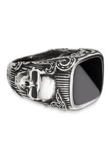 Ring 925/- Sterling Silber Onyx schwarz Mattiert 3,500ct CAI Silbergrau