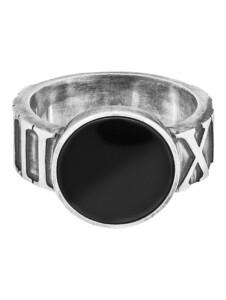 Ring 925/- Sterling Silber Onyx schwarz Mattiert CAI Silbergrau