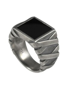 Ring 925/- Sterling Silber Onyx schwarz oxydiert CAI Silbergrau