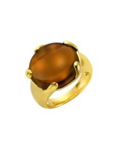 Ring 925/- Sterling Silber Quarz (beh.) braun Glänzend Jamelli gelb