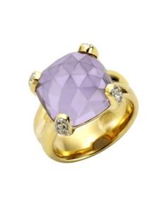 Ring 925/- Sterling Silber Quarz (beh.) lila Glänzend Jamelli gelb