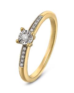 Ring aus 375 Gelbgold mit 11 Diamanten