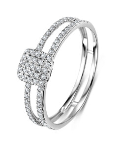 Ring aus 375 Weißgold mit 0.24 Karat Diamanten-52