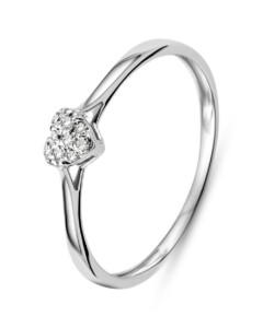 Ring aus 375 Weißgold mit Diamanten-54