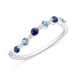 Ring aus 585er Weißgold Diamant Saphir Blautopas