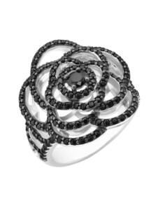 Ring Blüte mit schwarzen Zirkonia, Silber 925 Giorgio Martello Schwarz