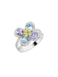 Ring Blüte mit weißen und farbigen Zirkonia, Silber 925 Giorgio Martello Bunt