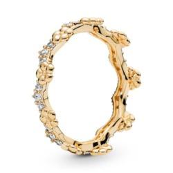 Ring Blumenkrone aus 925er Silber, vergoldet Zirkonia