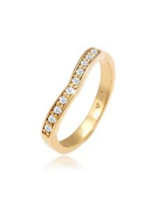 Ring Diamanten (0.15 Ct) V-Form Verlobung 925 Silber DIAMORE Gold
