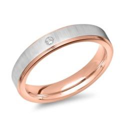 Ring Edelstahl teilvergoldet rosé Zirkonia