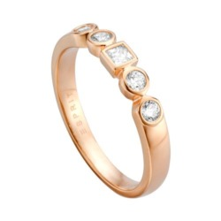 Ring Flow aus Sterlingsilber rosé mit Zirkonia
