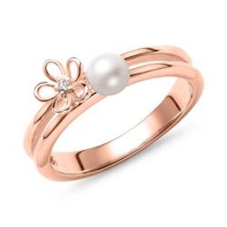 Ring für Damen aus 925er Silber mit Perle, IP Rosé