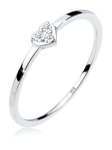 Ring Herz Symbol Diamant 0.04 Ct. 925Er Sterling Silber Elli Premium Silber