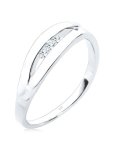 Ring Klassisch Trio Diamant (0.09 Ct.) 925 Silber DIAMORE Weiß