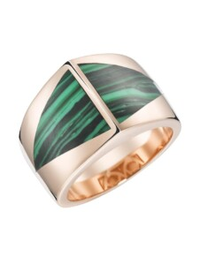 Ring mit Stein-Einlage in dreieckiger Form Giorgio Martello Grün