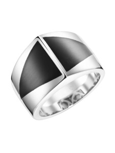 Ring mit Stein-Einlage in dreieckiger Form Giorgio Martello Schwarz