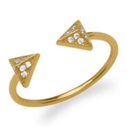 Ring Pyramiden Zirkonia 925er Silber vergoldet