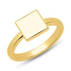 Ring Quadrat gravierbar Sterlingsilber vergoldet