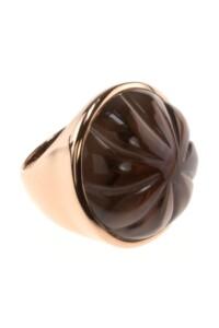 Ring Rauchquarz Sterling Silber rosé vergoldet