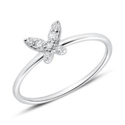 Ring Schmetterling aus 585er Weißgold mit Diamanten