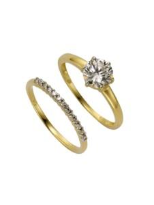 Ring-Set 375/- Gold Zirkonia weiß Glänzend Celesta gelb