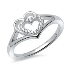 Ring Silber rhodiniert Herz doppelt Zirkonia