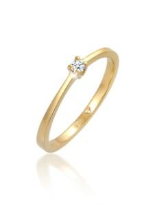 Ring Solitär Verlobung Diamant 0.11 Ct. 585 Gelbgold DIAMORE Weiß
