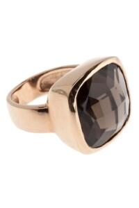 Ring Sterling Silber rosé vergoldet Rauchquarz