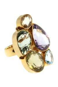 Ring Sterling Silber vergoldet diverse Edelsteine