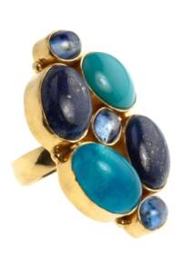 Ring Sterling Silber vergoldet Lapis Türkis