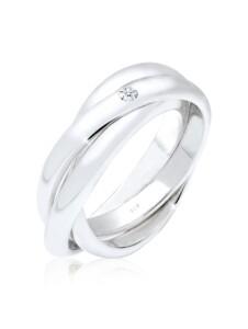 Ring Verlobungsring Diamant 0.03 Ct. 925 Silber Elli Premium Weiß