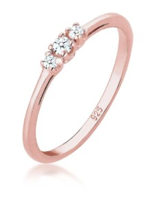 Ring Verlobungsring Diamant (0.06 Ct.) Zart 925 Silber Elli Premium Rosegold