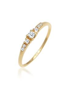 Ring Verlobungsring Diamanten (0.11 Ct) 585 Weißgold DIAMORE Gold