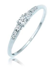 Ring Verlobungsring Diamanten (0.11 Ct) 585 Weißgold DIAMORE Silber