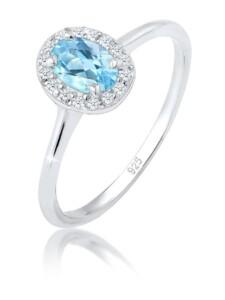 Ring Verlobungsring Topas Diamant (0.08 Ct.) 925 Silber Elli Premium Silber