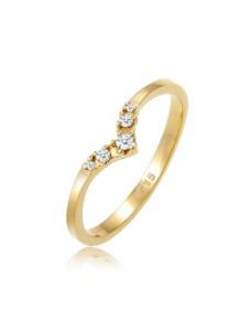 Ring Verlobungsring V-Form Diamant 0.07 Ct 585 Gelbgold DIAMORE Gold