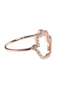 Roségold Ring Diamanten Hamsa