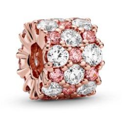 ROSE Charm mit rosa und weißen Zirkonia