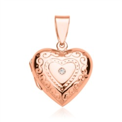 Rosé vergoldetes Herzmedaillon verziert