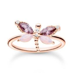 Roségoldener Ring aus Sterlingsilber mit Libelle