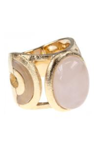 Rosenquarz Cocktail Ring vergoldet