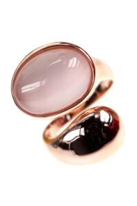 Rosenquarz Ring rosé vergoldet