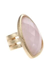 Rosenquarz Ring vergoldet