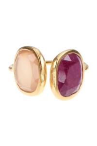 Rubin &amp  Mondstein Ring vergoldet