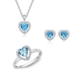 Schmuckset Blue Heart aus 585er Weißgold mit Diamanten