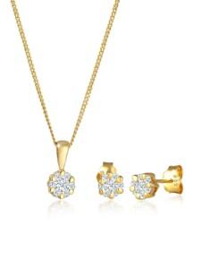 Schmuckset Blume Klassisch Diamanten (0.36 Ct.) 585 Gelbgold DIAMORE Gold