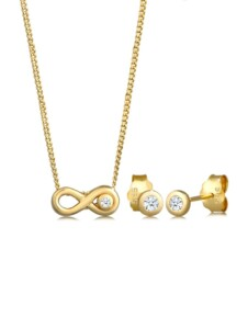 Schmuckset Infinity Solitär Diamant (0.075 Ct.) 585 Gelbgold DIAMORE Gold