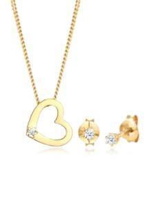 Schmuckset Kette Herz Diamant (0.075 Ct.) Stecker 925 Silber DIAMORE Gold