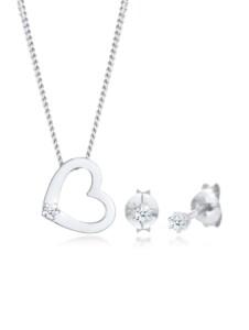 Schmuckset Kette Herz Diamant (0.075 Ct.) Stecker 925 Silber DIAMORE Silber
