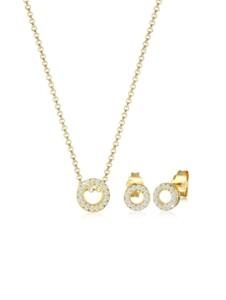 Schmuckset Kette Ohrstecker Diamant(0.215 Ct.)375 Gelbgold DIAMORE Gold